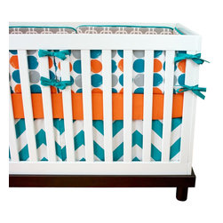 "Modified Tot - Baby Bedding Crib Set, Dots - A Modified Tot exclusive, these bold dots are sure to brighten up any nursery. Featuring turquoise, orange and gray. The three piece set includes bumpers with hand-stitched fabric ties and contrasting piping, a fitted sheet with elastic all the way around and a four-sided skirt with a 15"" drop. Bumpers are created in six separate pieces for easy transition to a toddler bed, they measure 1"" thick and 10"" high. All items are proudly made in the USA. All products are made to order."