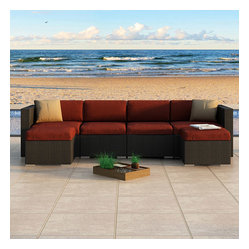 Urbana 6-Piece Wicker Patio Sectional Set, Henna Cushions
