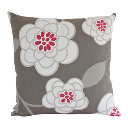 The Pillow Studio - Dove Grey and Pink Large Flower - Robert Allen Pillow Cover - These flowers are so fun- yet the grey and raspberry pink keeps this pillow feeling contemporary and grown up. I could see this pillow in both a little girl's bedroom or a living room. It makes me smile every time I see it.