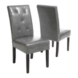 Great Deal Furniture - Alexander Grey Leather Dining Chair (Set of 2) - The Alexander dining chair is upholstered in fine marbled grey bonded leather with a button tufted backrest for extra elegance. This chair is comfortable and sophiscated for any dining room or kitchen area.