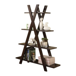 "Adarn Inc. - Coaster Bookshelf Contemporary Cappuccino X Shape 4 Storage Shelves Bookcase - This cool bookcase offers a distinctive storage solution for any room in your home. The contemporary ""X"" design create a bold look, in a deep Cappuccino finish that is sure to complement your decor. Four shelves are stacked from small to larger, for plenty of storage space for books, framed photos, and your favorite decorative accent items. Create a stylish look in your home with this unique book shelf. Accessories not included."