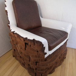 Chairs - One of a kind handmade chair sculpted from aerospace honeycomb materials supplied with custom leather seat cushions.