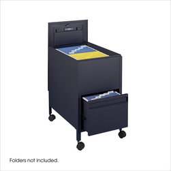 Safco - Safco Locking Mobile Letter Size Tub File with Drawer in Black - Safco - Filing Cabinets - 5364BL - Give organizing the right push with a mobile filing system. The filing system is complete with a tub file on top and a full suspension bottom file drawer that provides additional filing and storage capacity. Both lid and file drawer lock (4 keys included). Durable steel construction holds up to heavy daily use. Top viewing design allows easy filing and retrieval of stored documents. Holds letter size hanging file folders (not included). Rolls easily to point of use on four swivel casters (two lock).
