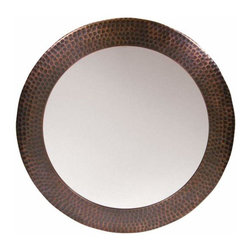 The Copper Factory - Dimple Framed Round Mirror, Copper - Copper Factory Copper Framed Round Mirror Copper 19 1/2 Inch Dia.