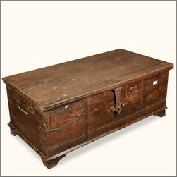 Rustic Reclaimed Wood Seafaring Captain's Storage Trunk Chest -