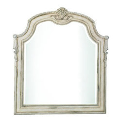 Horchow - Clairee Dresser Mirror - A classic parchment finish and swag detailing make this bedroom group a traditional choice for the guest or master bedroom. English and French dovetail construction ensure it will stand the test of time. Handcrafted of wood and resin. Queen sleigh be...
