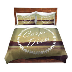 DiaNoche Designs - Duvet Cover Microfiber - Carpe Diem - Super lightweight and extremely soft Premium Microfiber Duvet Cover in sizes Twin, Queen, King.  This duvet is designed to wash upon arrival for maximum softness.   Each duvet starts by looming the fabric and cutting to the size ordered.  The Image is printed and your Duvet Cover is meticulously sewn together with ties in each corner and a hidden zip closure.  All in the USA!!  Poly top with a Cotton Poly underside.  Dye Sublimation printing permanently adheres the ink to the material for long life and durability. Printed top, cream colored bottom, Machine Washable, Product may vary slightly from image.