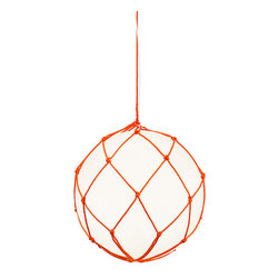 EcoFirstArt - Fisherman Lamp - Reminiscent of the vintage glass fishing floats once used by fishermen to keep their nets afloat, this stunning lamp glows with ethereal, oceanic light. Constructed from organic opal acrylic, this lovely lamp features a traditionally hand woven net as its hanging function. Available in a variety of net hues and globe sizes, this lamp would look amazingly chic grouped or as a stand alone piece.