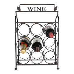 9 Wine Bottle Tabletop Holder - Wine about it all you want! Our countertop wine holder fits 9 bottles. Features leaf accents and WINE� title just to be sure you know what your drinking!