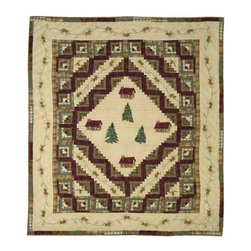 Patch Quilts - Forest Log Cabin Quilt Queen 85 x 95 - - Intricately appliqued and beautifully hand quilted.Bedding ensemble from Patch Magic  - The Name for the finest quality quilts and accessories  - Machine washable.Line or Flat dry only Patch Quilts - QQFOLC