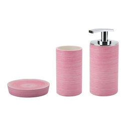 Gedy - Modern 3-Piece Accessory Set, Pink - .