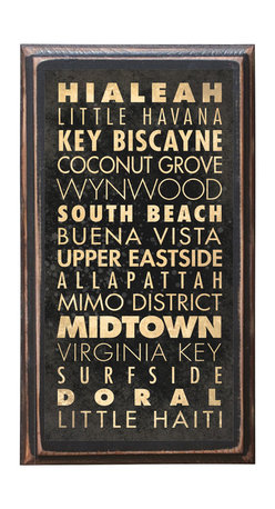 """CrestField - Miami, FL Points of Interest Decorative Vintage Style Wall Plaque / Sign - This vintage style wall plaque is hand made to commemorate the points of interest in Miami, FL. The pine board has a quarter round routed edge and is sized at 7.25"""" x 13"""" x .75"""". The surface is finished with my """"flatter than satin"""" poly finish with a saw tooth hanger on the back. Would look great in any decoration project, home or office."""