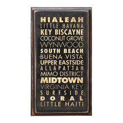 "CrestField - Miami, FL Points of Interest Decorative Vintage Style Wall Plaque / Sign - This vintage style wall plaque is hand made to commemorate the points of interest in Miami, FL. The pine board has a quarter round routed edge and is sized at 7.25"" x 13"" x .75"". The surface is finished with my ""flatter than satin"" poly finish with a saw tooth hanger on the back. Would look great in any decoration project, home or office."