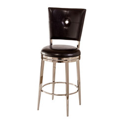 Hillsdale Furniture - Hillsdale Montbrook Swivel Stool with Black PU in Shiny Nickel - 26 Inch - Contemporary style and sleek design make the Montbrook Stool a favorite for modern tastes. Constructed of metal with a shiny nickel finish the Montbrook features a rectangular back with keyhole detailing. The 360-degree swivel stool is available with either a black or ivory PU cushions as well as in bar and counter heights. Some assembly required.
