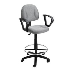 """BOSS Chair - Grey Task Chair w Loop Arm and Foot Ring - Designer details add interest to any work environment. Wrap-around armrests echo the circular footrest. Polished chrome and gray invite modern sensibilities. Contoured back and seat cushions allow you to work long hours if needed. This office chair is an easy and comfortable upgrade. Contoured back and seat help to relieve back-strain. Pneumatic gas lift seat height adjustment. Large 27"""" nylon base for greater stability. Hoode double wheel casters. Strong 20"""" diameter chrome foot. Loop arms four fabric colors. Optional glides can be used in place of casters (TU021). Cushion color: Grey. Base/wood: Black. Seat size: 17.5 in. W x 16.5 in. D. Seat height: 28 in. -33 in. H. Arm height: 35.5-42.5 in. H. Overall dimension: 26 in. W x 25 in. D x 44.5-49.5 in. H. Weight capacity: 250 lbs"""