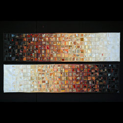me - Lucinda Carlstrom - Japanese papers, hand painted paste papers, new and recycled silk and 23k gold and bronze leaf that is sewn into mixed media quilt constructions that are framed under glass.