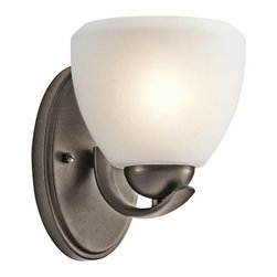 KICHLER - KICHLER 45117OZ Calleigh Modern / Contemporary Wall Sconce - This 1 light bath light from the Kichler Calleigh Collection features a satin etched goblet of cased opal glass balancing on an arched and tapered arm in Olde Bronze, providing a clean, crisp contemporary flair. Width: 6, Height: 8, Extention: 7.5, Height from Center of Wall Opening: 4.5. Uses 1 100W max bulb or 1 18-25W CFL. May be installed with the glass up or down. Rated for damp locations.