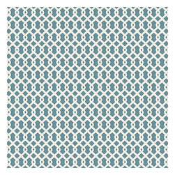 Aqua Small Geometric Cotton Fabric - Bright aqua & white mazelike lattice.  A little pizazz will go a long way.Recover your chair. Upholster a wall. Create a framed piece of art. Sew your own home accent. Whatever your decorating project, Loom's gorgeous, designer fabrics by the yard are up to the challenge!
