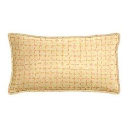 "Cushion Source - Sunbrella Bellamy Tangelo Outdoor Lumbar Pillow - The 20"" x 12"" Sunbrella Bellamy Tangelo Outdoor Lumbar Pillow features an ultra soft embroidered fabric in tangerine on a beige background."