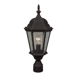 Exteriors - Exteriors Cast Aluminum Straight Glass Outdoor Post Lantern X-70-552Z - This cast aluminum Craftmade outdoor post lantern features a charming hexagonal lantern shape complete with clear beveled glass panels. The tapered body has been paired with elegant traditional details, such as a beautiful domed roof and eye-catching classic finial. For added appeal, this post light is available in a number of different colors for added versatility.