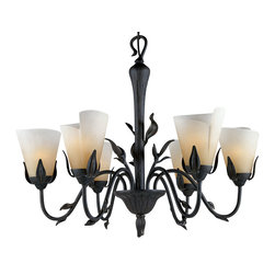 Quoizel - Quoizel YU5149IB Yuma Traditional Chandelier - Beautiful wrought iron formed into delicate leaves adds a touch of whimsy to this casual look.  The elegant shades are evocative of a calla lily, adding a soft, romantic edge to the bold silhouette.