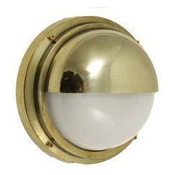 Shiplights - Bulkhead Light with Hood (Solid Brass Interior / Exterior Use by Shiplights) - Our Bulkhead Light with Hood is made of solid brass and can be used indoors or outdoors in a wide variety of applications.