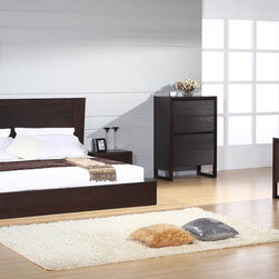 Elegant Wood Modern Design Bed Set - Contemporary european style wenge bedroom set in brown. The elegance and true beauty is offered by this contemporary European style Bedroom Set Jazz.
