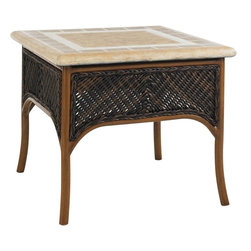 Lexington - Tommy Bahama Island Estate Lanai Accent Table - This table showcases the handsome design elements of woven wicker with the weather stone top. Although eluding to the natural materials, both are manmade in order to provide furniture that will withstand the changing elements of the outdoors.