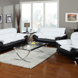 Contemporary, Modern Leather Upholstered Living Room Sofa Sets - Acme 50455 Orel Contemporary White & Black Leather Living Room Sofa Set