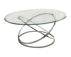 "Steve Silver Furniture - Steve Silver Orion 3-Piece Glass Top Coffee Table Set with Chrome Base - Go space age with the retro-modern Orion Collection! The Orion 3-pack table base and tempered glass table top s (sold separately) combine to create three stunning tables _ one cocktail, and two end tables. The 19"" decorative metal table base pairs with the 48"" x 32"" oval glass top ; the two 22"" bases pair with the two 26"" round glass top s."