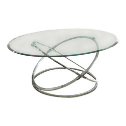 """Steve Silver Furniture - Steve Silver Orion 3-Piece Glass Top Coffee Table Set with Chrome Base - Go space age with the retro-modern Orion Collection! The Orion 3-pack table base and tempered glass table top s (sold separately) combine to create three stunning tables _ one cocktail, and two end tables. The 19"""" decorative metal table base pairs with the 48"""" x 32"""" oval glass top ; the two 22"""" bases pair with the two 26"""" round glass top s."""
