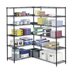 Safco - 48 in. Industrial Wire Shelving Starter Unit in Black - This four foot wide shelving unit can be used in conjunction with another set of Safco shelving for extra office or workshop storage. With snap together clips it's easy to combine the two. Adjustable height shelves allow for storage customization. Black powder coat finish. Snap-together clips. Prevents dust accumulation. Powder coated finish. Material Thickness: 10 ga. (shelf surface), 3 ga. (frame), 16 ga. (post), 6 ga. (wave pattern). Shelf adjusts in 1 in. increments. 1000 lbs. evenly distributed shelf carrying capacity. 2500 lbs. evenly distributed overall carrying capacity. GREENGUARD Certified. Made from steel. Available in additional finish. 48 in. W x 18 in. D x 72 in. H (58 lbs.). Assembly InstructionGet wired! With Wire Shelving you're sure to get the storage space you need. These shelves are designed to get your office organized and keep it that way. Easily store office supplies, break room supplies, paper, marketing materials and other supplies so they are easy to find and incur no damage. Great for your supply room, storage area, mail room, warehouse, storage closet, garage area or even a classroom, assembly area or production area. Get storage where you need it, and always be able to find what you're looking for!