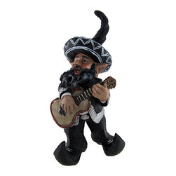 Zeckos - Mexican Mariachi Garden Gnome 14 In. - This mariachi gnome has traveled all the way from Guadalajara to sing and dance in your garden. He is dressed to impress in a black suit with sparkling silver trim, topped off with his modified elf style sombrero. Made of cold cast resin, he measures 14 1/4 inches tall, 7 1/2 inches long, and 5 inches wide. He is suitable for indoor or outdoor use, adding a wonderful accent to flower beds, porches, and patios.