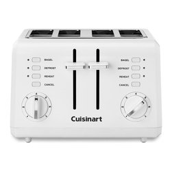 Cuisinart - Cuisinart CPT-142 White 4-slice Compact Toaster - Toast bagels and bread in this Cuisinart Slice Compact Toaster. The four-slot toaster features multiple settings such as defrost and reheat, so you can toast different breads at the same time.