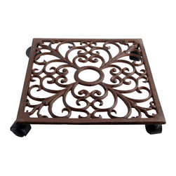 Esschert Design - Plant Trolley - Square Cast Iron w/ Hole for Display - Antique cast iron square plant trolley with elegant scroll work and 4 wheels. Center hole so it fits beautifully on our TG41 display stand. Holds up to 195 lbs.  See item TG41 for FREE display stand offer.