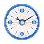 Maple's Clocks - Blue Bike Aluminum Rim Wall Clock - Aluminum rim. Screw driver & wrench style hands. Conspicuous arabic numerals. 1.75 in. W x 16 in. L x 16 in. HThis wall clock features a blue painted aluminum bicycle wheel.  There is a wrench hour hand and a screwdriver minute hand, along with a center gear that ticks every second.  Attached to the spokes are numbers every quarter hour.  The clock is 16 inches in diameter and 1.75 inches deep.  Precision time is kept with a quartz crystal.  The clock requires 1 AA battery (not included) and a 1 year limited warranty is included.