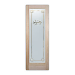 Sans Soucie Art Glass - Enna Aphrodite Laundry Room - Laundry Room Door with Sandblast Etched Glass - Enna Aphrodite Laundry Room - Quality, hand-crafted sandblast etched glass.