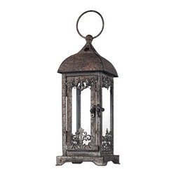 Sterling Industries - Distressed Hurricane Lantern Decorative Accessory in Terra Nova - Distressed Finish Hurricane Lantern Decorative Accessory in Terra Nova by Sterling Industries