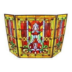 Beautiful Stained Glass Fireplace Screen 31 X 40 - Why would you ever settle for a metal screen if you could instead watch this gorgeous, stained glass panel brilliantly light up in front of your roaring fire? Now your fireplace can be beautiful even unlit.