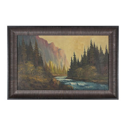 Lost Art Salon - Inspiration Point Original Oil by John D. Delane - This original, antique oil painting by landscape artist John D. Delane captures the rugged beauty of the Western wilderness. With its soft summer earth tones and ready-to-hang wood frame, it will bring a rustic warmth to your walls and make you look like a savvy antique market shopper.