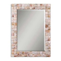 Uttermost - Uttermost Vivian Mother Of Pearl Mirror 12763 - This mirror is accented by a genuine Mother of Pearl frame. Mirror is beveled. May be hung horizontal or vertical.