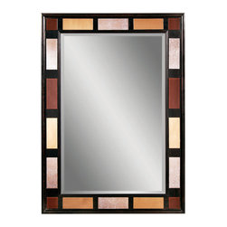 Bassett Mirror - Espresso-Copper-Bronze Rectangle Wall Mirror - Espresso Finish - Antiqued Copper - Bronze Mirror - Rec. Measures: 32 in. W x 44 in. H.