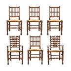 Set of Six English Yorkshire Georgian Style Oak Rush Seat Chairs - Ref: B-80-0002