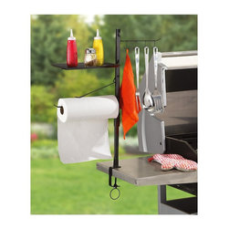 "Maverick - Maverick BBQ Accessory Organize - Four double-sided hooks for holding your most important barbecue tools. Paper Towel Holder is a must have when grilling up your favorite messauce or marinade recipe. Shelf for your spices, and/or cooking gadgets. Also acts as a cover for the paper towels. Large 3.5"" screw clamp mounts to any grill or table. Our ACCESSORY ORGANIZER makes cooking easier. Now you can have BBQ tools and cooking supplies readily accessable by clamping them to your grill or table! Dimensions: Pole: 27.50"" x 0.750"" x 0.750"".  Shelf: 11.50"" x 7.5"" x 0.56"".  Clamp: 3.50""."