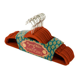 Enchante Accessories Inc - Raymond Waites Non-Slip Clothes Hangers, Set of 18, Burgandy - Whether your closet needs some organization or you're just tired of picking clothes up of the floor, this set of non-slip hangers makes it easy to keep clothing hung and organized neatly in your closet.  The set includes 18 individual hangers, each of which has a super slim profile, notched details to position garment straps, and a non-slip felt fabric covering that prevents items from slipping off the hanger.  On traditional plastic hangers, clothing can fall off, straps can slip down, and wide neck tops and dresses often end up on the closet floor.  With these non-slip hangers, your clothes will stay put so you wonメt have to worry about delicate fabrics getting ruined by hitting the floor.