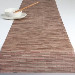 Chilewich - Chilewich Bamboo Runner - Brick - Your own personal environmental protection service starts here. A table runner of this quality basically lets you enjoy the open expanse of your table, while keeping greasy platters, dripping candles and messy serveware from polluting its natural beauty. Keeping your runner pristine is a simple as rinsing under water.
