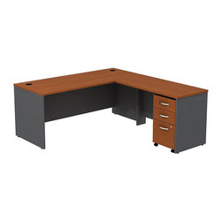 "BBF - BBF Series C 72Wx30D L-Desk with 3Dwr Mobile Pedestal - BBF - Computer Desks - SRC001AUSU - Affordable elegance in a functional design. Create a complete office with the BBF Series C 72""W Shell Desk 48""W Bridge Return and 3-Drawer Mobile Pedestal (B/B/F). The 48""W Bridge Return mounts on the left or right to create an expansive L-Shaped work surface of durable thermally fused laminate resistant to scratches and stains. The 3-Drawer Mobile Pedestal unit provides two box drawers for office supplies and one file drawer to accommodate letter legal or A4 size files with full drawer access on full-extension ball bearing slides. A front face lock secures the file drawer and lower box drawer for added privacy. The 3-Drawer Mobile Pedestal is accented by brushed nickel hardware and fits conveniently under the desktop with room for an additional unit. An integrated wire management system incorporates desktop grommets and wire channels to conceal wires and cords to maintain a clean look. With a finish to match any decor additional BBF Series C pieces allow for additional configurations as your needs evolve and grow. Solid construction meets ANSI/BIFMA test standards in place at time of manufacture; this product is American Made and is backed by BBF 10-Year Warranty."