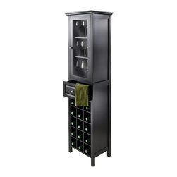 "Winsome Wood - Winsome Wood Burgundy 15-Bottle Wine Cabinet X-76602 - Handsome and elegant Burgundy Wine Tower is compact and perfect to storage your wine and accessories.  Overall assembled size is 18.11""W x 12.99""D x 66.85""H. Top Cabinet with Clear Glass Door opens to 3 fixed shelf with 13.54""W x 10.94"" for wine glass storage.  One drawer with inside dimension of 12.36""W x 9.06""D x 6.10""H.  Bottom section holds 15 wine bottles.  Made with combination of solid and composite wood in Black Finish.  Assembly Required."