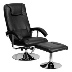Flash Furniture - Contemporary Black Leather Recliner and Ottoman with Chrome Base - This overstuffed leather recliner will look great in any room in the home or office. This set features plush padding throughout the chair and ottoman as well as sleek chrome bases. The durable leather upholstery allows for easy cleaning and regular care.