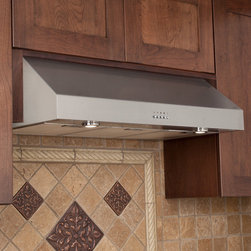 "30"" Fente Series Stainless Steel Under-Cabinet Range Hood - 600 CFM - Simple and elegant, this kitchen range hood is meant to be built in underneath a kitchen cabinet. Made of durable stainless steel, it features two undermount lights and a three speed blower."
